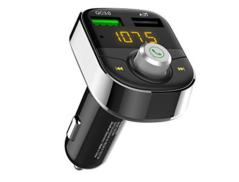 Darythem Bluetooth FM Transmitter for Car, Wireless Radio Transmitter Adapter with Hands Free Calls for iPhone, Quick Charge 3.0 USB Car Charger for Samsung