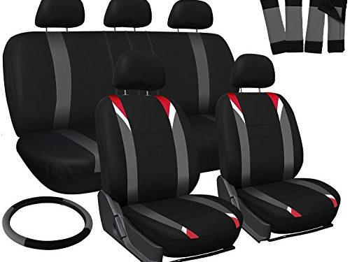 OxGord 17pc Set Flat Cloth Mesh/Red, Gray & Black Auto Seat Covers Set – with Steering Wheel Cover – Universal Fit for Car, Truck, SUV, Van – Front Low Back Bucket Seats – Airbag Compatible