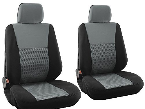 Gray/Black – OxGord Flat Cloth Bucket 6pc Seat Cover Set Wide Striped for Car, Truck, Van, SUV, Airbag