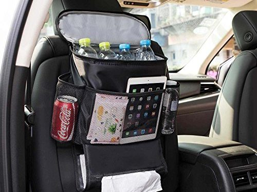 Autoark Car Seat Back Organizer and Cooler Set,Multi-Pocket Travel Storage BagHeat-Preservation and Waterproof,Non-toxic and BPA-free,Bigger-Capacity,AK-054