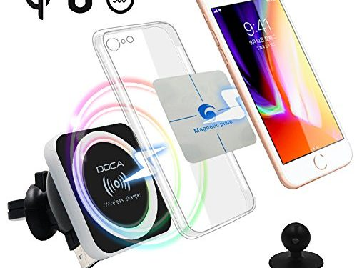 QI Wireless Car Charger Mount Holder, DOCA Mobile Cell Phone Air Vent Magnet Car Cradle Charging Holder for Galaxy Note 8 S8/S8 Plus S7 Edge and Others Qi Enabled Phones