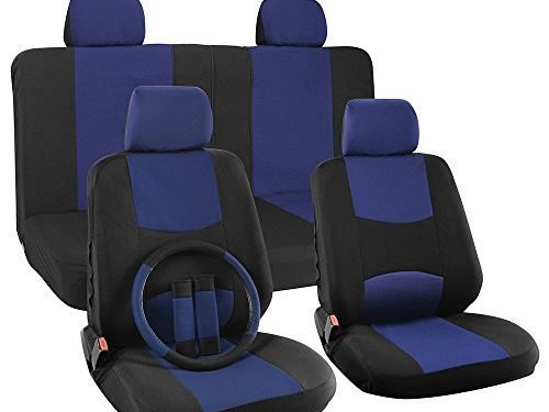 OxGord 17pc Set Flat Cloth Mesh Blue & Black Broken Stripe Seat Covers Set – Universal Fit for Car, Truck, Suv, or Van – 5 Head Rests – FREE Steering Wheel Cover – Airbag Compatible – Front Low Back Buckets – 50/50 or 60/40 Rear Split Bench