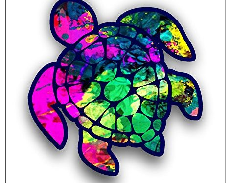 Sea Turtle Decal/sticker hot pink and green