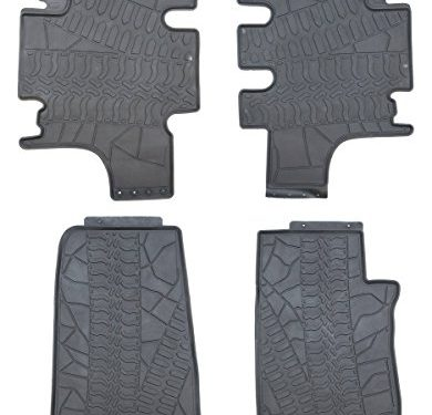 Black Rubber Floor Mats for 2007-2016 Jeep Wrangler JK Unlimited 4 Door