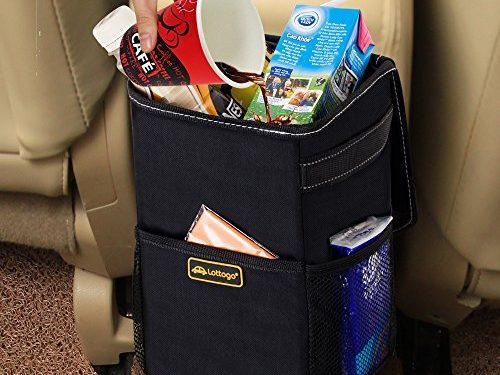 Lottogo Car Trash Can Leak-Proof Durable Car Trash Bin with Lid and Storage Pockets Black