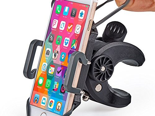 For iPhone 8 X, 7, 5, 6 Plus, Samsung Galaxy or any Cell Phone – Bike & Motorcycle Phone Mount – Universal Handlebar Holder for ATV, Bicycle and Motorbike. +100 to Safeness & Comfort