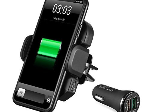 IKOPO Automatic Phone Holder for Car with Wireless Charger,Wireless Car Charger Mount Fast Charge for Samsung Galaxy S8,S7/S7 Edge,Note 8 5 &Standard Charge for iPhone X,8/8 Plus &Qi Enabled Devices