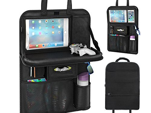Upgraded Seat Back Organizers, Automotive Organizer Car Seat Organizer with Tablet Pocket Wet Wipes Pocket Mesh Pocket for Toy Magazine Storage Travel Accessory for Kids Black 1PC