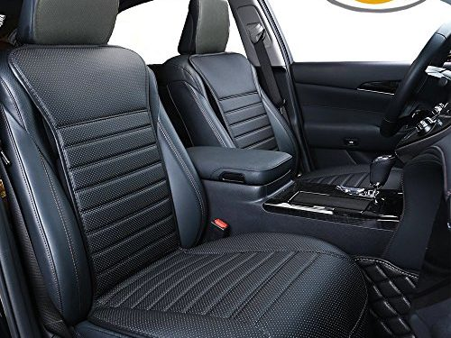 Big Ant Car Seat Cushion, Sleek Design Full Size 2 PCS Breathable Universal Four Seasons Interior Front or Back Seat Covers for Auto Supplies Office Chair with PU LeatherBlack