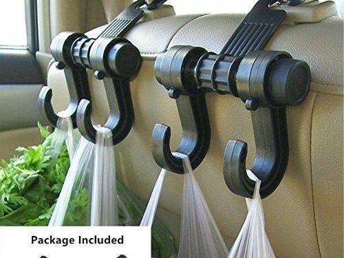 Gyges 2 PCS Car hooks Vehicle Back Seat Hidden Headrest Hanger, Universal Holder for Purse Handbag Grocery Shopping Bag Cloth Coat 2 Pack