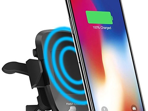 Wireless Car Charger, iPosible Fast Charge Phone Holder with Air Vent for Car, Qi Charger Car Mount for Samsung Galaxy S8/S8+, S7 Edge/S7, Note 8 5,Standard Charging for iPhone X, 8/8 Plus& Qi Enabled