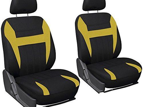 OxGord Car Seat Cover Flat Cloth Bucket Set for Car, Truck, Van, SUV – Black, Yellow