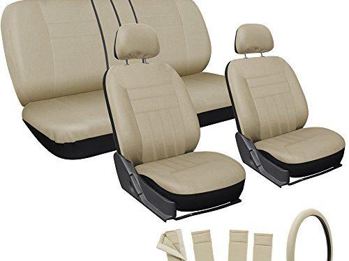 Tan – Steering Wheel Cover – OxGord 17pc Flat Cloth Mesh Seat Cover Set – Universal Fit for Car, Truck, SUV, Van