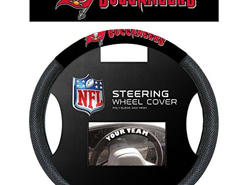 NFL Tampa Bay Buccaneers Poly-Suede Steering Wheel Cover, White, One Size