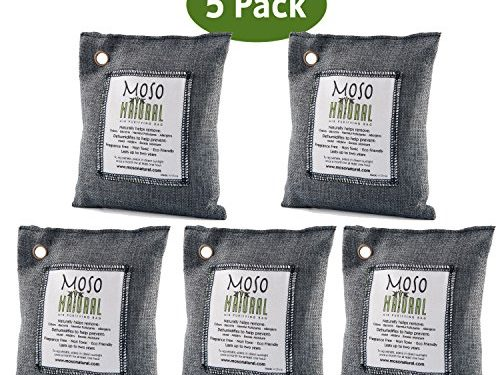 Moso Natural Air Purifying Bag. Odor Eliminator for Cars, Closets, Bathrooms and Pet Areas. Captures and Eliminates Odors. Charcoal, 5 Pack
