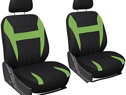 OxGord Car Seat Cover Flat Cloth Bucket Set for Car, Truck, Van, SUV – Black, Green