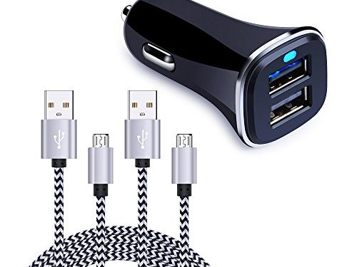 Dual USB Car Charger, FiveBox Phone Car Charger Adapter with 2 Pack Braided Micro USB Charging Cable 6ft Android Charger Cord for Samsung Galaxy S6/S7 Edge, J3 J7, LG stylo 2/3 Plus, LG G4 G3 K20 Plus