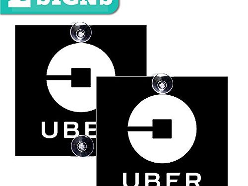Removable Window Decal with Super Strong Suction Cups – Signs for Uber, Lyft and Rideshare Drivers Not a sticker! 2pack Uber sign – 2 Pack 5″x5″ inches – BelleXpress Uber Sign