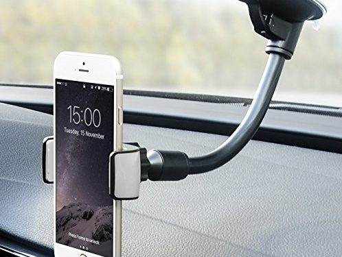 Car Phone Mount, Universal Flexible Arm Windshield Car Cell Phone Holder with Strong Suction Cup for iPhone X SE 7 Plus 6s 6 Plus 6 5s 5 4s 4 Samsung Galaxy S6 S5 S4 LG Nexus Sony Nokia and More