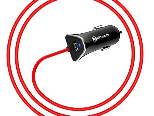BitTrendx, Dual Rapid iPhone 8 Car Charger With Built in Smart Apple Lightning Cord for iPhone X 8 Plus 7 Plus 6S Plus SE 6 Plus 5 5S 5c iPad Pro Air Mini 2 3 4 and Extra USB Black