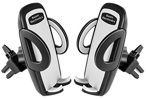 Beam Electronics 2 PACK Universal Smartphone Car Air Vent Mount Holder Cradle Compatible with iPhone X 8 8 Plus 7 7 Plus SE 6s 6 Plus 6 5s 5 4s 4 Samsung Galaxy S6 S5 S4 LG Nexus Sony Nokia and More
