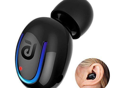 Bluetooth Headphone, Kissral Wireless Sport Earbud 8 Hours Talking Time HD Microphone Bluetooth Headset One Piece- Black