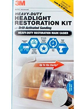 3M 39175 Heavy Duty Headlight Restoration Kit with Quick Clear Coat, 1 Pack