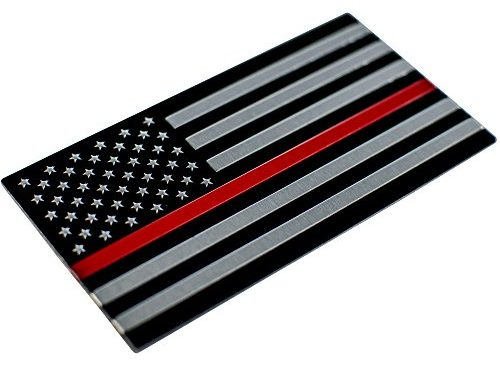 Thin Red Line American Flag Sticker/ Decal   Heavy Duty Aluminum Alloy for Car, Truck, SUV   In Support of Firefighters and EMTs