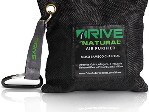 Natural Air Freshener by Drive – All Black Car Purifier is Certified Moso Bamboo Activated Charcoal 220g – Unscented Deodorizer, Drying Bag Removes Allergens & Moisture – Prevents Bacteria, Mildew