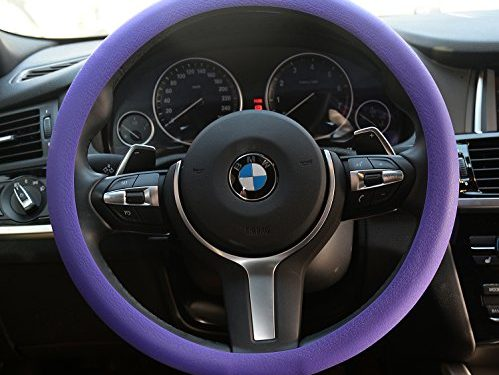 OHF Natural Silicone Candy-colored Steering Wheel Cover Super Feel Skid Environmental Tasteless Silicone Universal Purple
