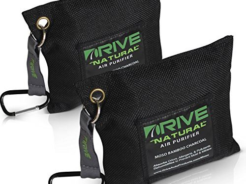 Unscented Deodorizer, Drying Bag Removes Allergens & Moisture – Prevents Bacteria, Mildew – Natural Air Freshener by Drive Black, 2-Pack Car Purifier is Certified Moso Active Bamboo Charcoal 220g