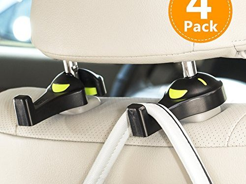 Convenient Trunk Organizer – Upgrade 4-Pack Car Hooks, Universal Vehicle Back Seat Headrest Strong and Durable Hanger Holder for Purse Grocery Bag Cloth Coat – Drop Stop Gadget – Best Gift for Women