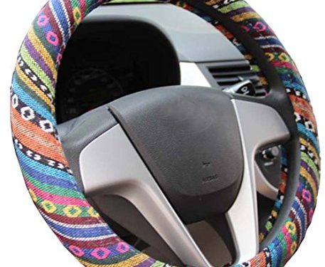 Istn 2016 Ethnic Style Coarse Flax Cloth Automotive Steering Wheel Cover Anti Slip and Sweat Absorption Auto Car Wrap Cover C