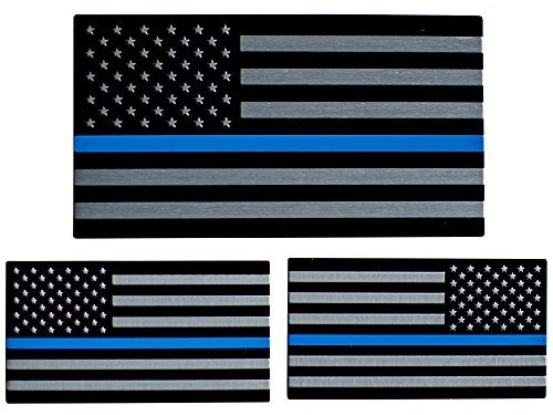 "3D Metal Thin Blue Line American Flag Sticker Decal Emblem | In Support of Police Officers and Law Enforcement | Bundle Pack: 1 Large 5″ x 2.75″, 1 Left & 1 Right 3.2"" x 1.8"""