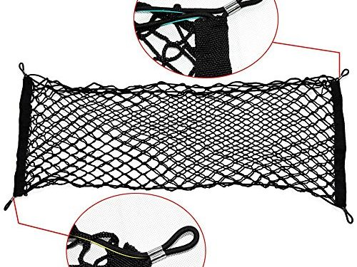 Ideapro Rear Cargo Net, Bungee Car Elastic Netting Carrier with Mounting Screw for SUV Jeep Truck, 35×12-Inch