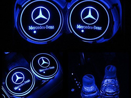TaiFuMaoYi Led Car Cup Holder Mat Pad Waterproof Bottle Drinks Coaster Built-in Vibration Automatically Turn On at Dark Universal 7-Color Light 2-PacksMercedes-Benz