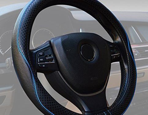 Steering Wheel Covers Universal 15 inch Genuine Leather Protector Anti-Slip Durable Breathable Sports Wave Pattern Black with Blue Lines