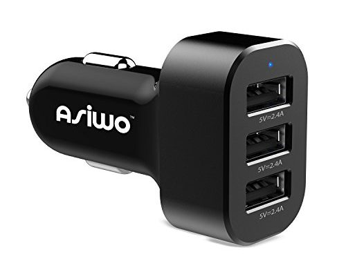 Asiwo 3 USB Car Phone Charger,Smart Charging 7.2A/36W Car charger adaptor for iPhone X 8 7 6S 6 Plus, Samsung Galaxy S8 S7 S6 Edge, Note 8 5 4, LG G6 G5 V20, HTC, Nexus 6P, Pixel, iPad, Mp3 and more