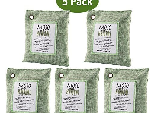Moso Natural Air Purifying Bag. Odor Eliminator for Cars, Closets, Bathrooms and Pet Areas. Captures and Eliminates Odors. Green, 5 Pack
