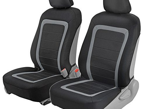 Advanced Performance Car Seat Covers – Instant Install Sideless Front Seat Protector Pair – Modern Honeycomb Accent Black & Gray