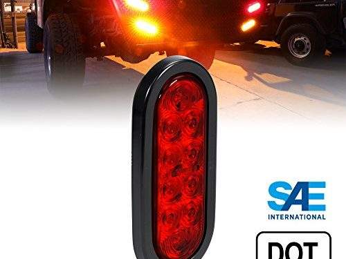 6 Inch Oval RED LED Turn Stop Brake Trailer Tail Light for Trucks RV JEEP – DOT Certified, Grommet & Plug Included