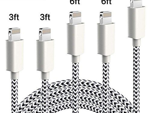 WUXIAN iPhone Charger Lightning Cable 5-PACK 3/3/6/6/10 ft Nylon Braided 8 pin Charging Cables for iPhone 8/X/8P/7/7 Plus/6/6 Plus/6s/6s Plus/5/5s/5c/SE and more-Silver&Gray