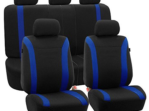 FH GROUP FH-FB054115 Blue Cosmopolitan Flat Cloth Seat Covers, Airbag compatible and Split Bench, Blue / Black Color-Fit Most Car, Truck, Suv, or Van