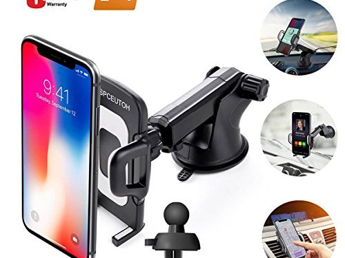 Car Phone Mount,Universal Air Vent Phone Holder for Car Cell Phone,Upgrade 360 Degrees Soft Rubber Car Phone Holder Dashboard Windshield Mount for iPhone,Galaxy,LG and More By SPCEUTOH Black