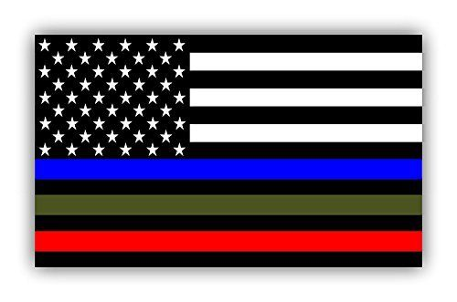 2 pack – MILITARY STICKER, POLICE DECALS American Flag Sticker Blue Green and Red stripe for cars trucks to honor and support our TROOPS, POLICE, FIRE / EMT – – 3 in one sticker — 5 x 3 inch – 2 PACK