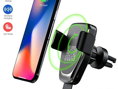 Wireless Car Charger Phone Mount, 2 in 1 Car Air Vent & Dashboard Universal Phone Holder Fast Charging for iPhone X iPhone 8/8 Plus,Samsung Galaxy Note 8/S 8/S 8+/S 7/S 6 and All QI-Enabled Smartphone