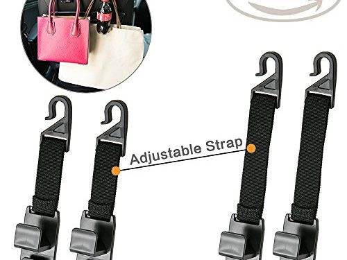 Qozary Headrest Hooks for Car, 4 Pack Handbag Hooks For Car Seat By Strong Durable Backseat Hanger Storage for Purse, Coat and Bottle, Car Seat Organizer Adjustable Strap Fit Each Type of Vehicle