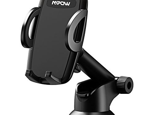 Mpow Car Phone Mount, Phone Holder, on Dashboard/Windshield, 360° Rotation, One-Hand Operation, for iPhone X/8/8Plus/7/7Plus/6s/6Plus/5S, Galaxy S5/S6/S7/S8, Google Nexus, Huawei and more
