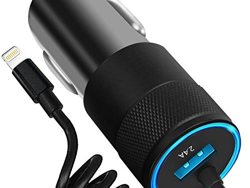 iPhone Car Charger, 4.8A Rapid USB Car Charger With Coiled Lightning Cable For iPhone X/8/8 Plus/7/6s/6s Plus 5S 5 5C SE, iPad and More, With Extra USB Port-Black