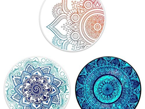 Multi-Function Mounts and Holder Three Pack Expanding Stand Pop Grip Kickstand Sockets for Cellphones,Smartphones and Tablets-Mandala Flower